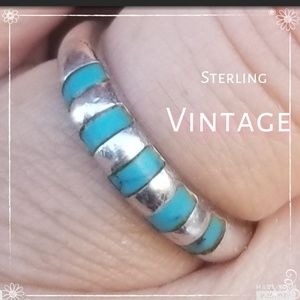 Vintage sterling & turquoise band 7.5